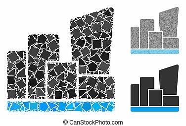 ville, cahoteux, morceaux, mosaïque, icône