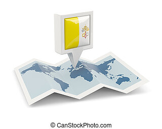 ville, carrée, épingle, carte, drapeau, vatican