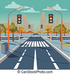 ville, carrefour, feux circulation