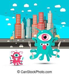 ville, cartoon., étrangers, étranger, arrière-plan., froussard, vector.
