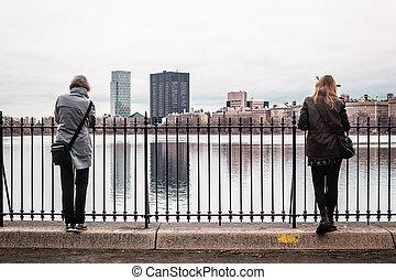 ville, central, barrière, parc, york, nouveau, girl, manhattan