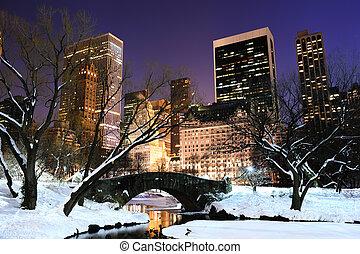 ville, central, crépuscule, panorama, parc, york, nouveau, manhattan