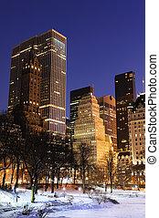 ville, central, hiver, panorama, parc, york, nouveau, manhattan