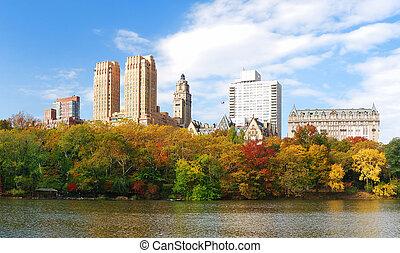ville, central, panorama, parc, automne, york, nouveau, manhattan