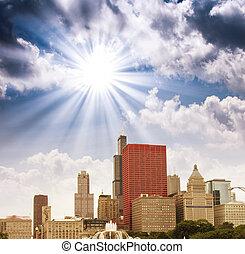 ville, chicago, gratte-ciel, sur, ciel, illinois., couleurs, merveilleux