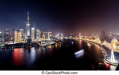 ville, clair, shanghai, lumières