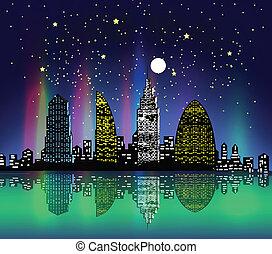 ville, coloré, nuit