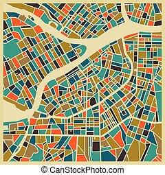 ville, coloré, petersburg, saint, plan