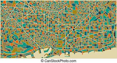 ville, coloré, plan, barcelone