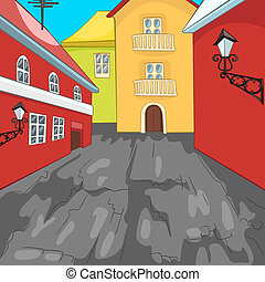 ville, coloré, rue., fond, dessin animé