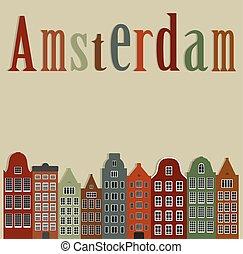 ville, coloré, vieux, maisons