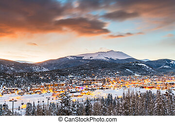 ville, colorado, hiver, usa, horizon, breckenridge