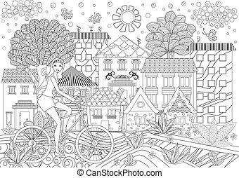 ville, coloration, vélo, livre, jolie fille