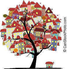 ville, concept, art, croquis, arbre, conception, ton