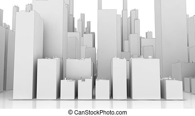 ville, concept, blanc