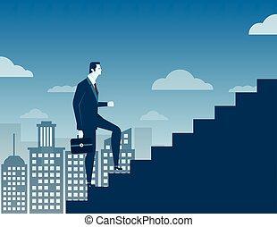 ville, concept, escalier, haut, fond, homme affaires, escalade