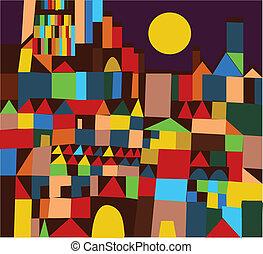 ville, conception abstraite, fond, rigolote