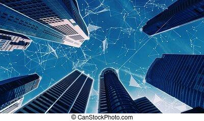 ville, connexion, graphique, numérique, projection, intelligent, réseau, globalisation, résumé