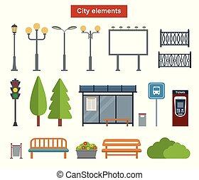 ville, construction, extérieur, paysages, éléments