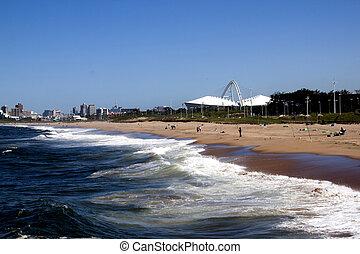 ville, contre, horizon, plage, paysage, vue