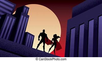 ville, couple, animation, superhero, nuit