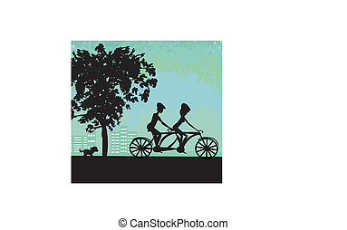 ville, couple, faire vélo