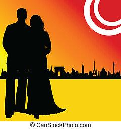 ville, couple, illustration, mariage