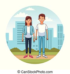 ville, couple, jeune