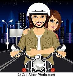 ville, couple, rues, jeune, par, motocyclette, nuit, équitation