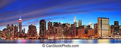 ville, crépuscule, midtown, york, nouveau, manhattan