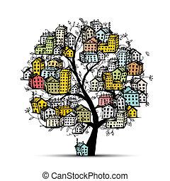 ville, croquis, conception, ton, arbre