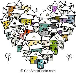 ville, croquis, hiver, coeur, amour, forme, conception, ton