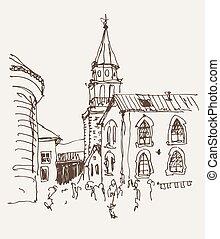 ville, croquis, vieux, cloche, sommet, église, tour, dessin, vue