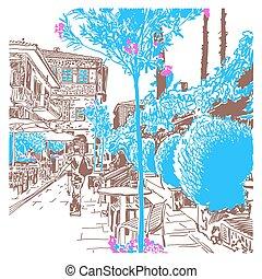ville, croquis, vieux, tyrkey, numérique, cityscape, dessin, antalya