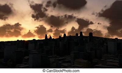ville, défaillance, temps, horizon, levers de soleil