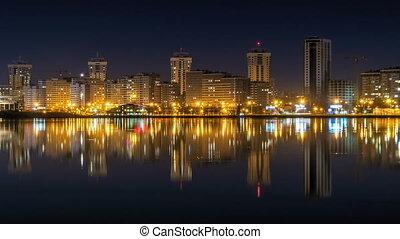 ville, défaillance, temps, rivière, nuit