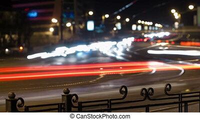 ville, défaillance, trafic, temps, panoramique, night.