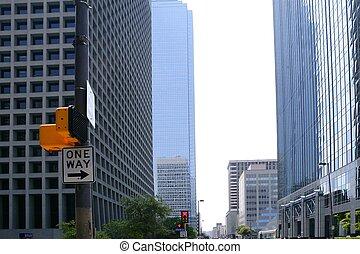 ville, dallas, en ville, bulidings, urbain, vue