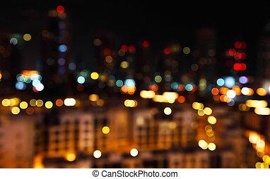 ville, defocused, lumières