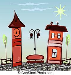 ville, dessin animé, illustration
