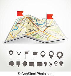 ville, différent, carte, résumé, plié, collection, epingles, parcours