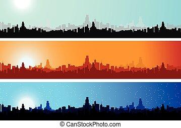 ville, différent, temps, scape, coloré, jour