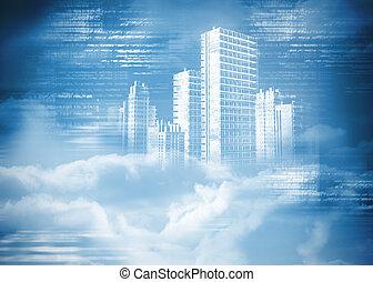 ville, digitalement, nuages, engendré, hologramme