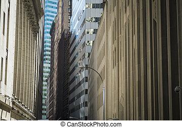ville, district financier, bâtiments, york, nouveau