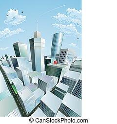 ville, district financier, centre, moderne, cityscape