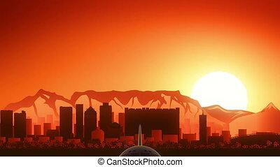 ville, doré, fermé, afrique, horizon, prendre, fond, cap, avion, sud