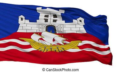 ville, drapeau, serbie, isolé, belgrade