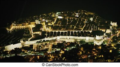 ville, dubrovnik, nuit, vieux, panorama