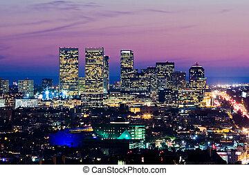 ville, dusk., siècle, pacifique, angeles, los, horizon, ocean., vue
