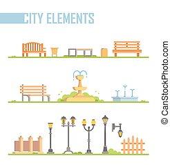 ville, ensemble, moderne, -, isolé, illustration, vecteur, dessin animé, éléments